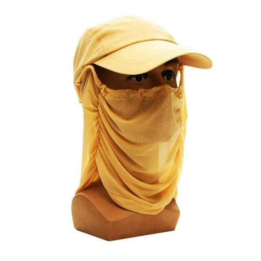Anti UV Sun Hat With Face Cover - Yellow