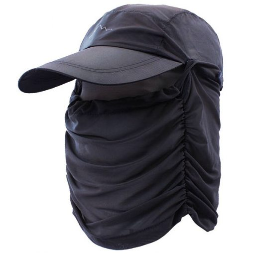 Anti UV Sun Hat With Face Cover - Grey