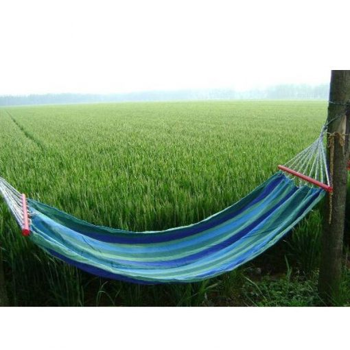 Portable Outdoor Hammock Fabric Swing With Wood Support – Blue/Green