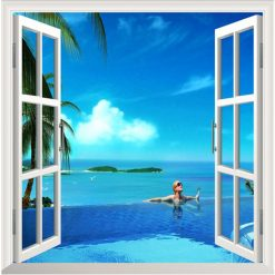Beach Corner 3D Window View Removable Wall Decal Sticker