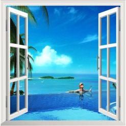 Beach Corner 3D Window View Removable Wall Decal Sticker