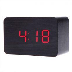 Digital Rectangular Wooden Alarm Clock Red Led Light - Black