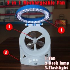 3 in 1 Multifuctional Mini LED Fan - Blue