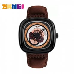 SKMEI 9129 Quartz Genuine Leather Strap Fashion Watch - Brown