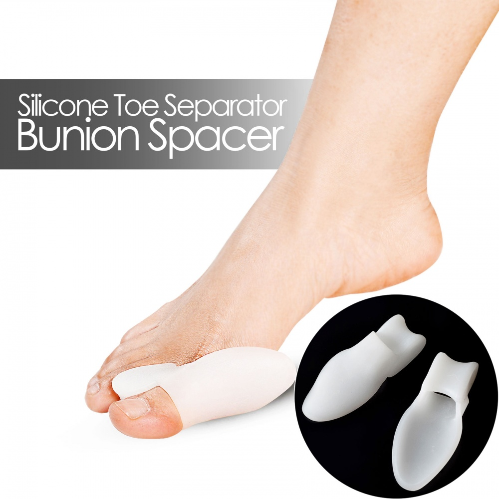 1 Pair Silicone Toe Separator and Bunion Spacer -  White