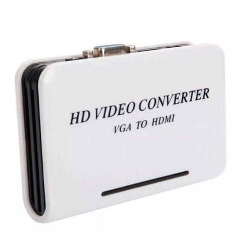 VGA to HDMI Video Converter Box with Audio - White