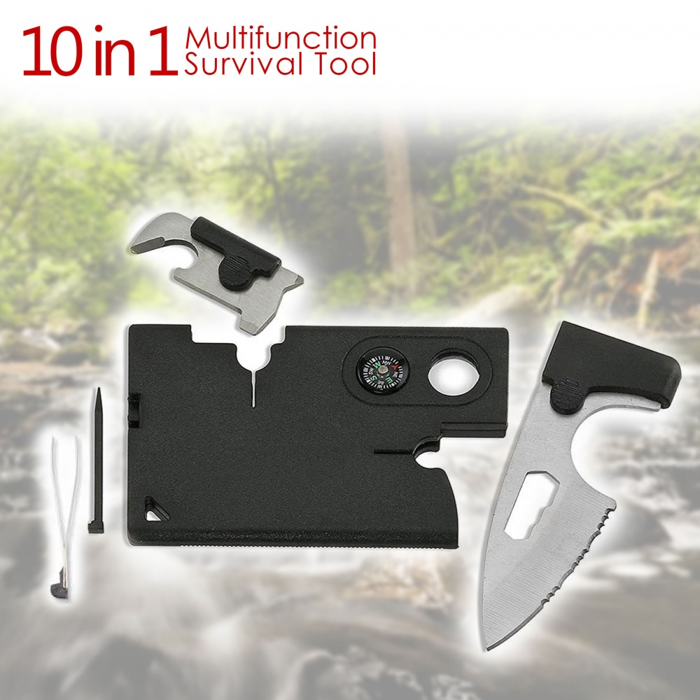 10 In 1 Credit Card Size Multifunction Tactical Survival Tool - Black