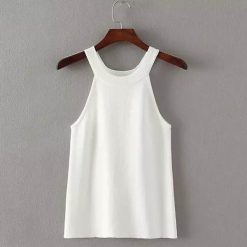 Sleeveless Halter Slim Bottoming Shirt - White