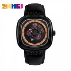 SKMEI 9129 Quartz Genuine Leather Strap  Fashion Watch - Black
