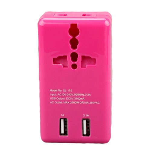 Travel Adaptor With 2 USB Port - Pink
