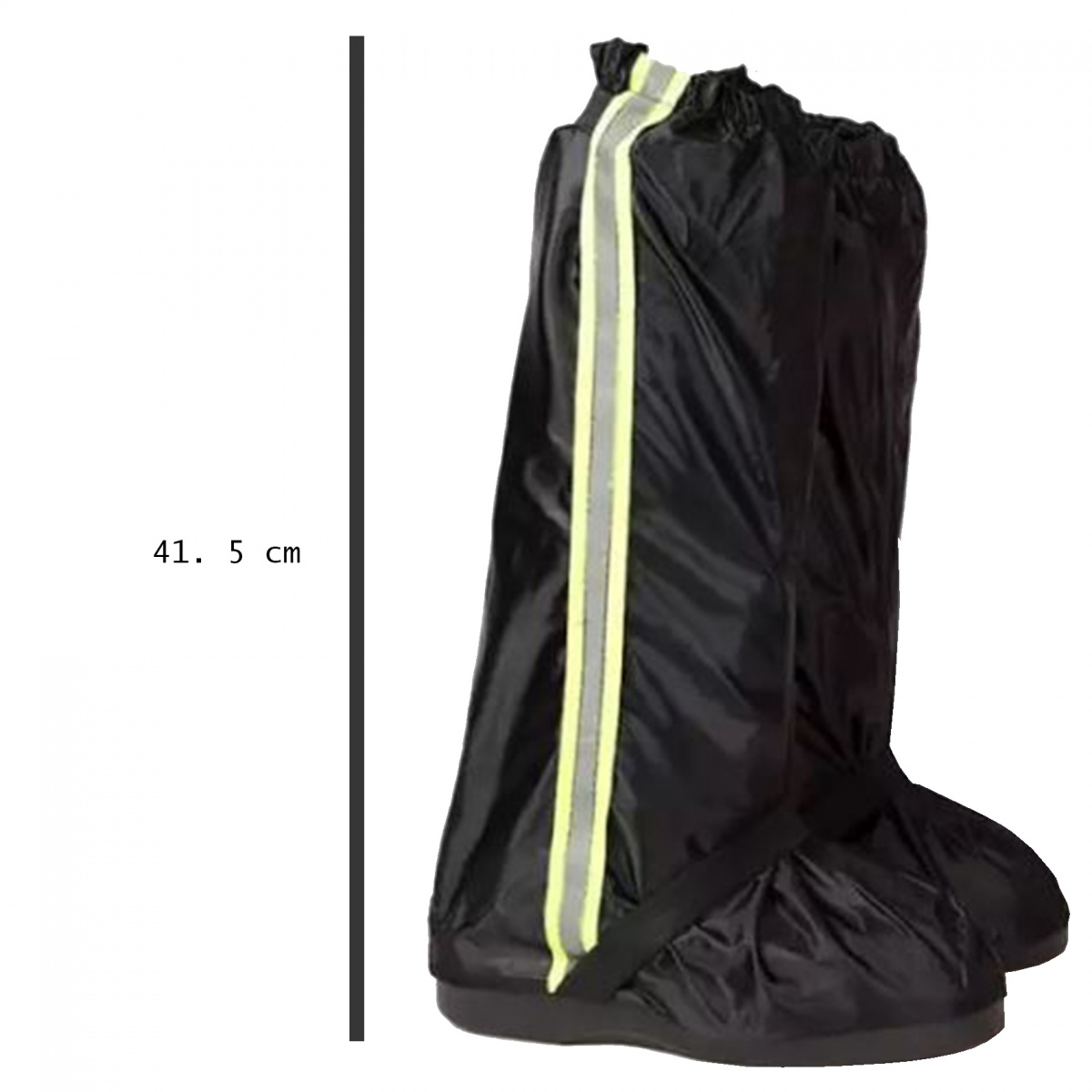 Foldable Waterproof Rain Shoes Cover With Rubber Sole XXL - Black