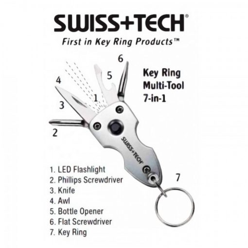 Swiss Tech Key Ring Multi Tool 7 in 1 With LED Flashlight - Silver