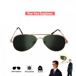 Spy Aviator Sunglass With Rear View - Black