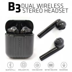 Zilla B3 Dual Wireless Stereo Headset with Charging Case - Black