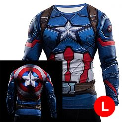 Super Hero Compression Wear Captain America Large - Blue