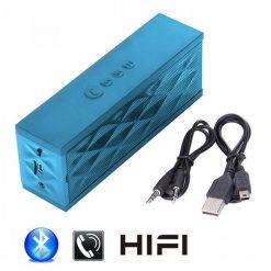 Wireless Bluetooth Boombox Mini Speaker with Microphone - Blue