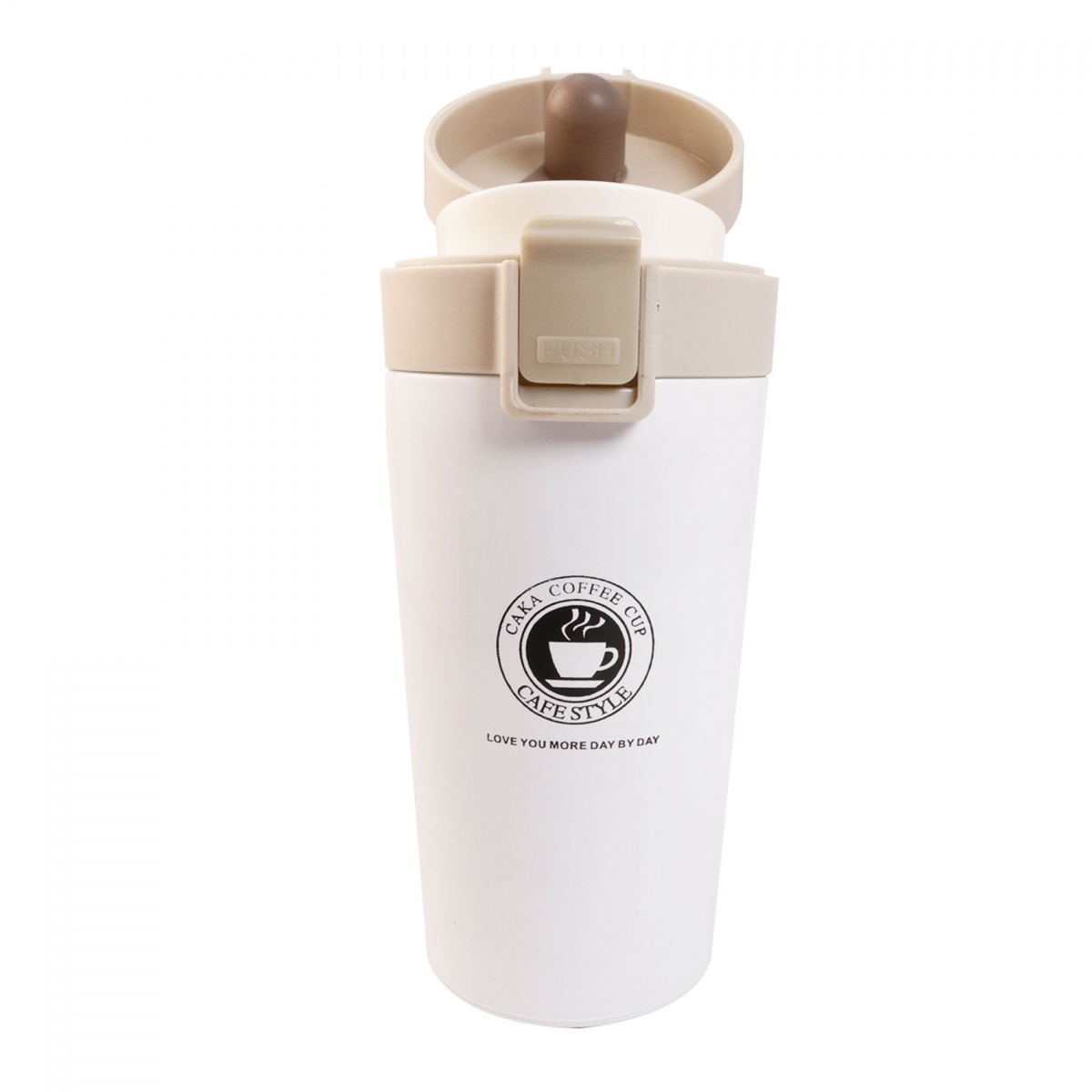 Caka 380ml Stainless Steel Vacuum Flask Coffee Bottle Cup - White