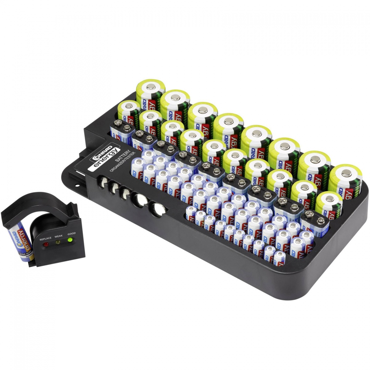 Conrad Battery Organizer And Tester - Black