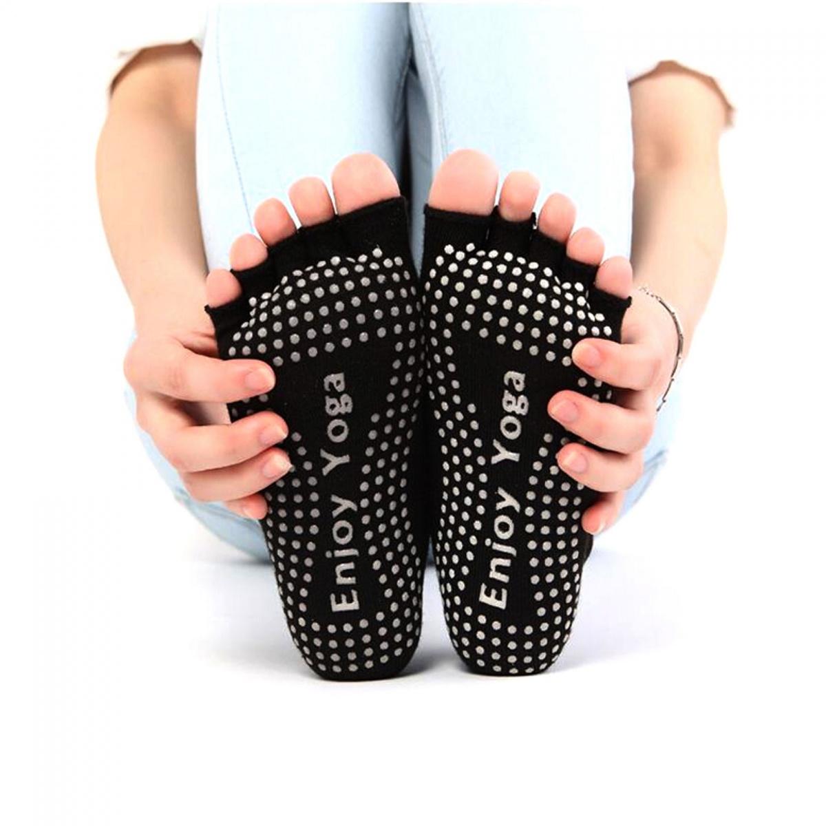 Enjoy Yoga Toeless Non Slip Socks - Black