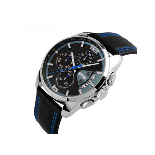 Waterproof Fashion PU Leather Band Wrist Watch 9106 - Blue