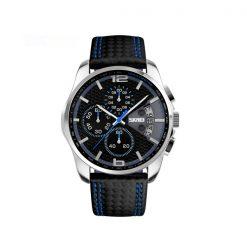 Waterproof Fashion PU Leather Band Wrist Watch 9106 - Blue