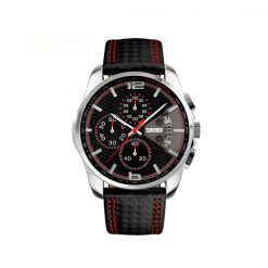 Waterproof Fashion PU Leather Band Wrist Watch 9106 - Red