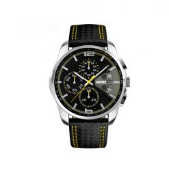 Waterproof Fashion PU Leather Band Wrist Watch 9106 - Yellow