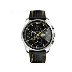Waterproof Fashion PU Leather Band Wrist Watch 9106 - Yellow