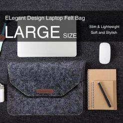 Slim Wool Felt Laptop Bag Sleeve Case Large 39 x 27 cm - Black