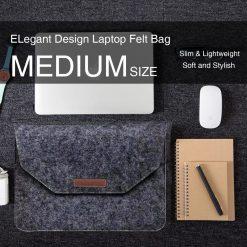 Slim Wool Felt Laptop Bag Sleeve Case Medium 35x 25 cm - Black