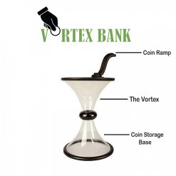 Vortex Bank Clear Rotated Coin Money Box - Black