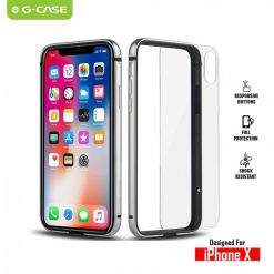 The Grand Series Aluminum Metal Bumper TPE Inner Frame with Removable Clear Back Panel for iPhone X - Silver