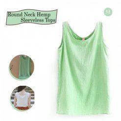 Round Neck Hemp Sleeveless Tops Medium - Green
