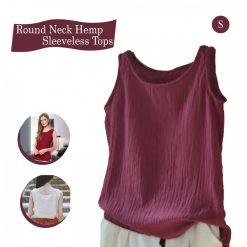 Round Neck Hemp Sleeveless Tops - Red