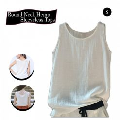 Round Neck Hemp Sleeveless Tops - White