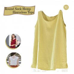 Round Neck Hemp Sleeveless Tops XL - Yellow