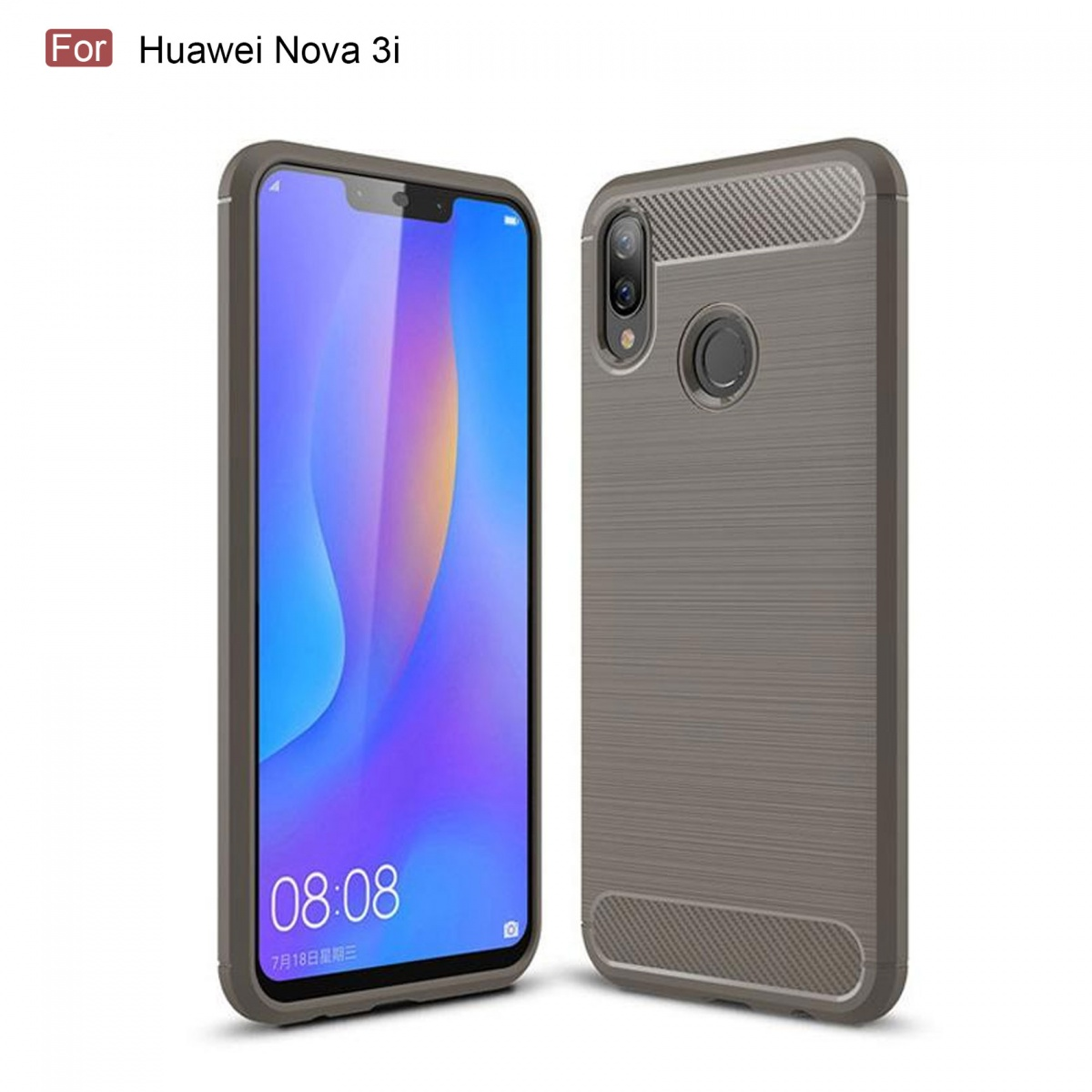 FOR SKU Huawei Nova 3i Fashion Fiber Phone Case - Gray