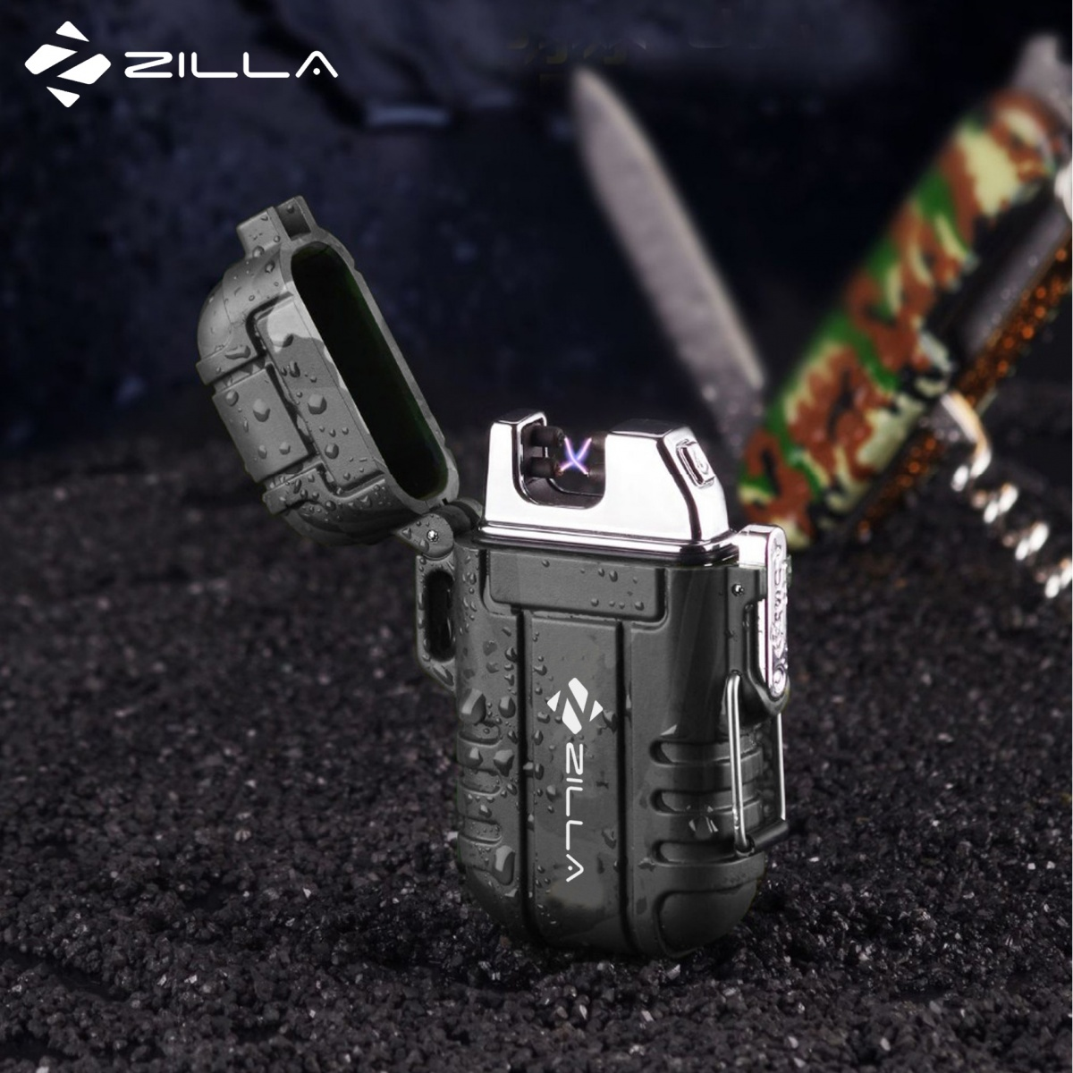Zilla Dual Arc Micro USB Rechargeable Electric Cigarette Lighter - Black