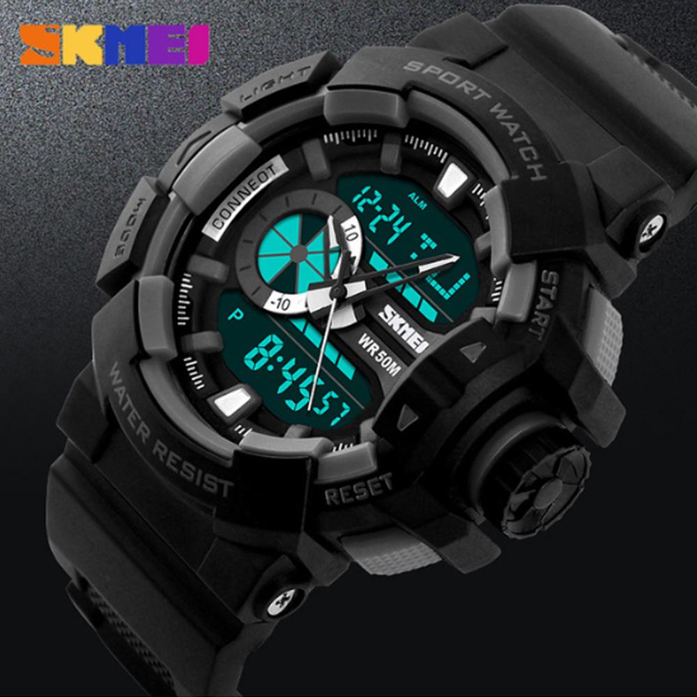 Skmei 1117 Dual Mode Luminous Sports Digital Quartz Watch - Black