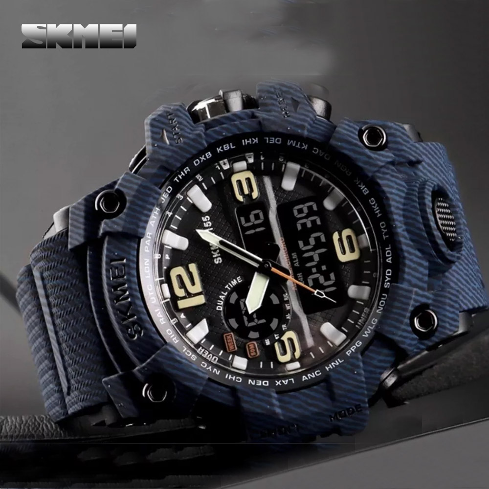 Skmei 1155 Water Resist Dual Model Sports Watch - Denim