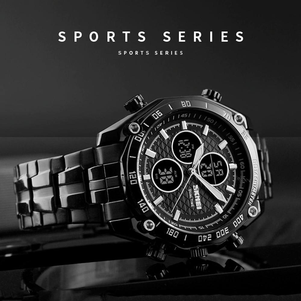 Skmei 1302 Dual Model Water Resistant  Stainless Watch - Black