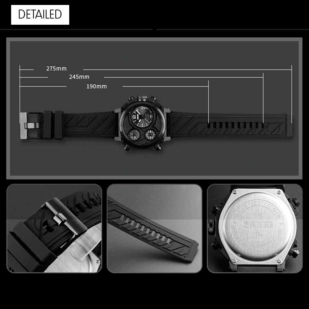 Skmei 1359 Dual Mode Sports Chrono Watch - Black