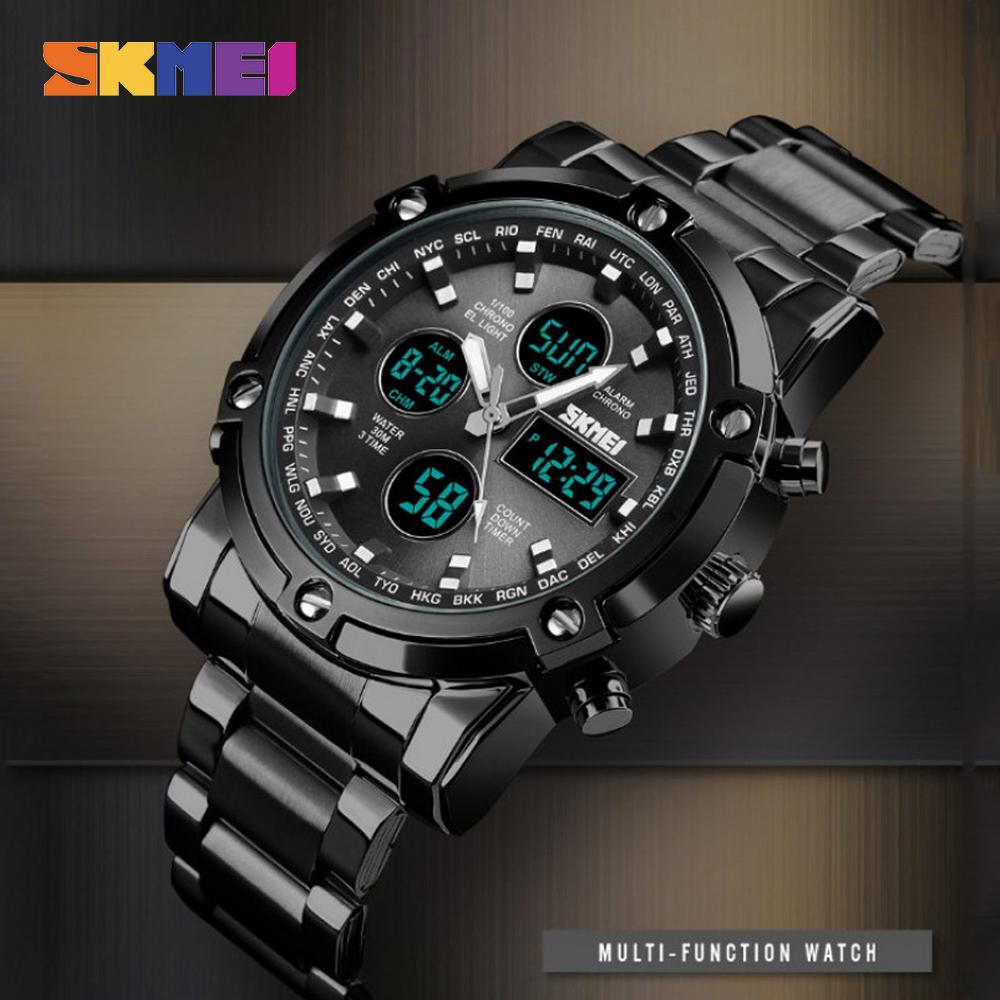 Skmei 1389 Dual Model Water Resist Stainless Watch - Black