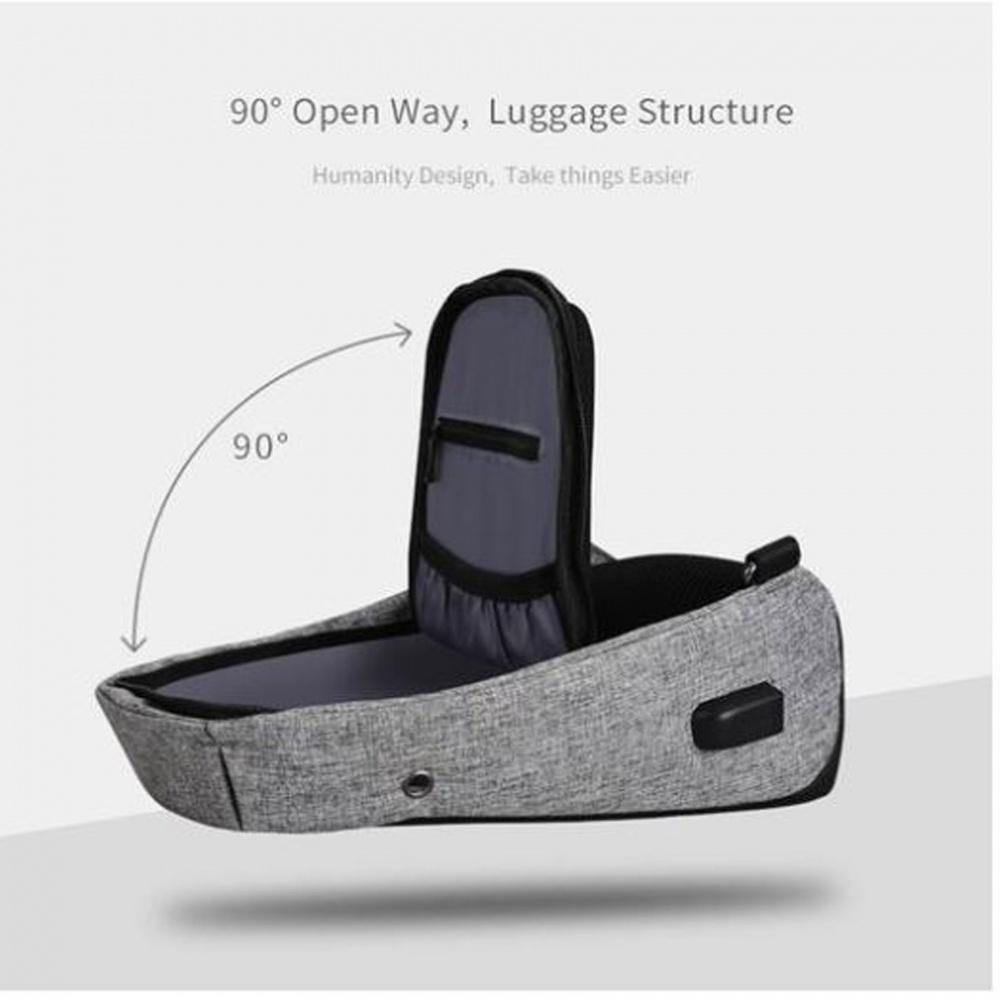 Anti Theft Sling Bag With USB Port - Black