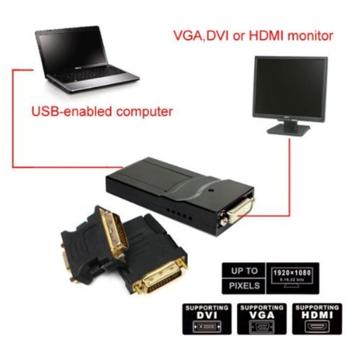 USB 2.0 UGA Multi Display Adapter – Black