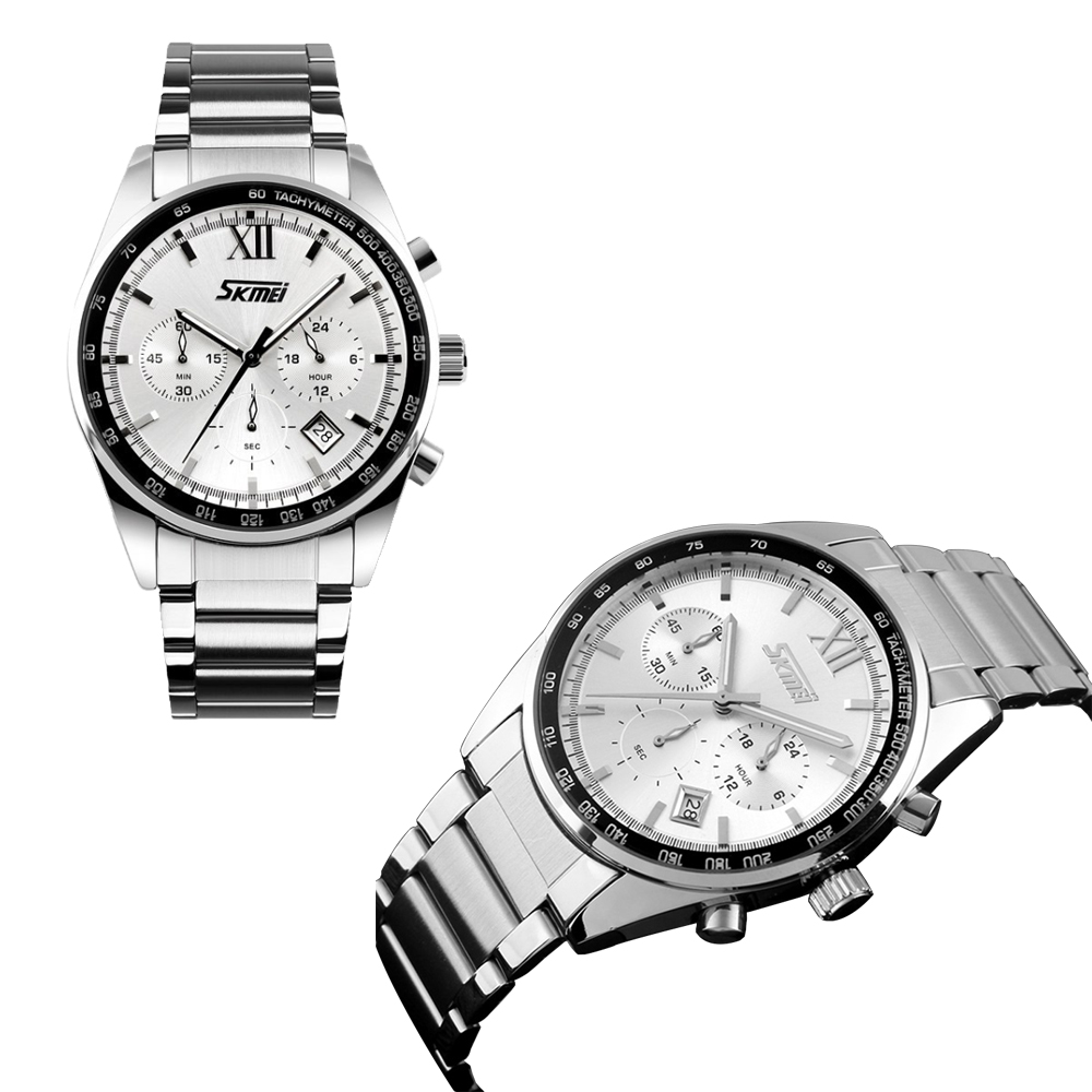 Skmei 9096 Water Resistant Stainless Chrono Watch - Silver