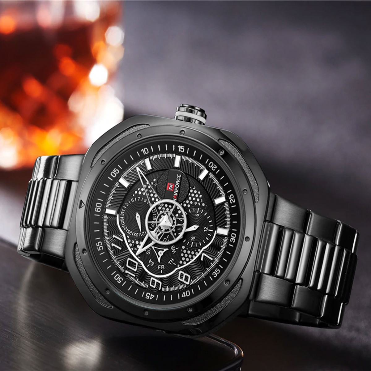 Naviforce LG9141SBWB Stainless Chrono Watch - Black