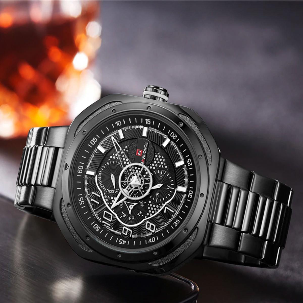 Naviforce LG9141SBWB Stainless Chrono Watch - Black