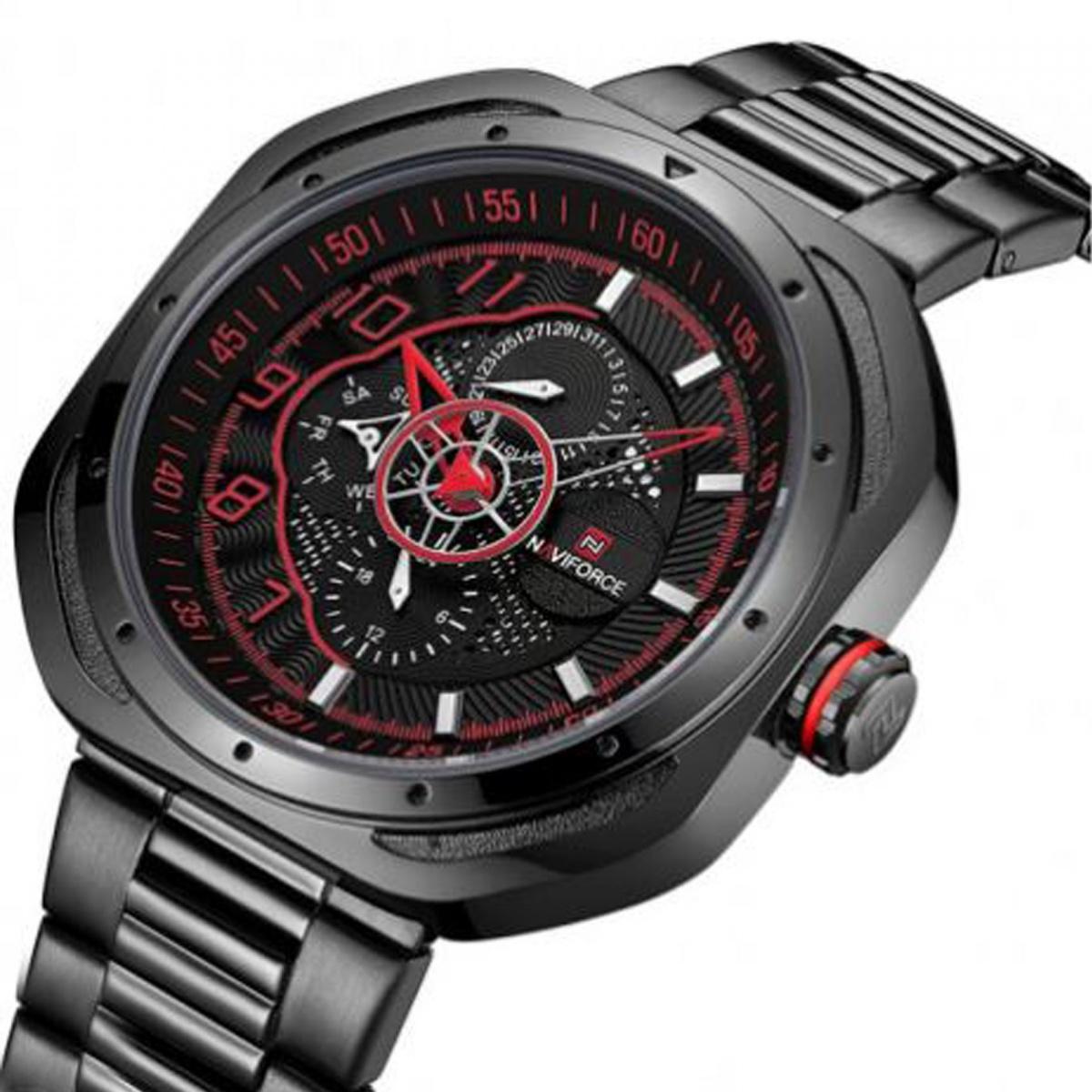 Naviforce 9141SBRB Stainless Chrono Watch - Black