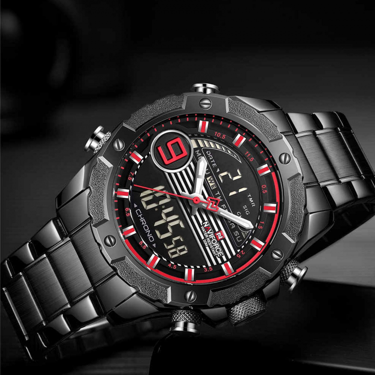 Navifore 9146S  Stainless Dual Time Watch - Black